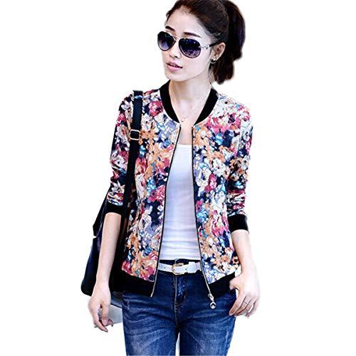 Soluo Women Floral Zipper Jacket Classic Long Sleeve Short Bomber Jacket Baseball Fall Biker Coat (Red,X-Large)
