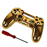 Timorn Replacement Chrome Plating Housing Shell Parts Case Kit Cover for PS4 Controller DualShock 4, Gold