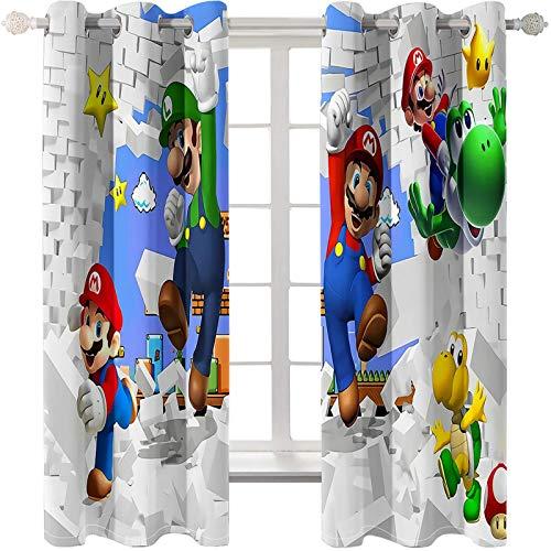 Timcome Super Mario Bros 3D Verdunkelungsvorhang, Blickdichte Vorhänge Gardinen mit Ösen, Geräuschreduzierung Kälte und Wärmeisolierun, Kinderzimmer/Wohnzimmer Verdunkelungsvorhang 2 x 75 x 166cm