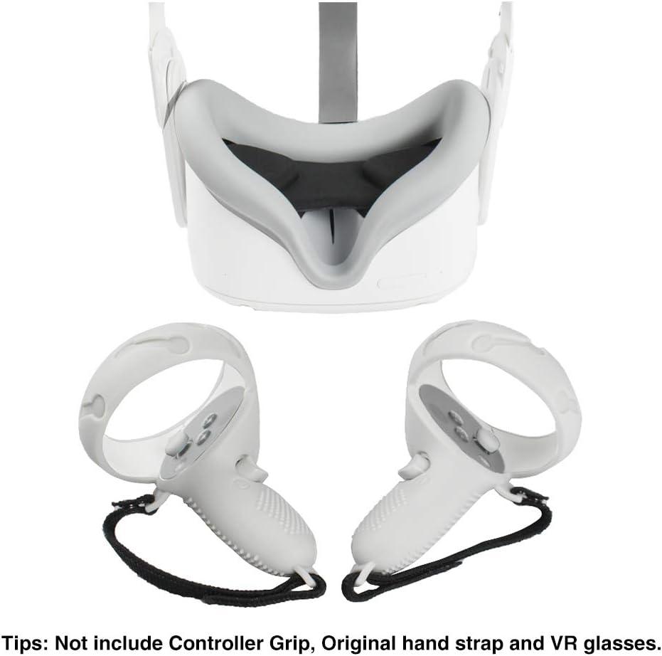 Kit de accesorios para gafas de realidad virtual compatible con gafas de realidad virtual Oculus Quest 2 cubiertas de agarre de controlador a prueba de sudor cubierta de lente de realidad virtual