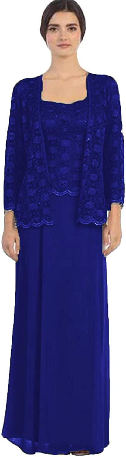 Xixi House Women's Mother of The Bride Suits Dresses for Wedding Party Wear Lace Jacket Outfit 3 Pieces Royal Blue