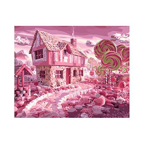Yeesovs® Rödhus landskap ny målning efter nummer för vuxna barn – 40 x 50 cm linnekanvas – gör-det-själv digital målning av nummer kit på duk