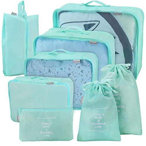 Joyoldelf 8 Set de Organizador de Equipaje, Impermeable Organizador de Maleta Bolsa para Ropa Sucia de Viaje,Cubos de Embalaje para Viaje(azul claro)