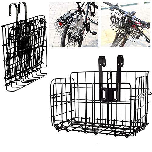ASPIRER Cestino anteriore della bicicletta – pieghevole e staccabile in rete metallica a sgancio rapido per bicicletta multiuso (nero)