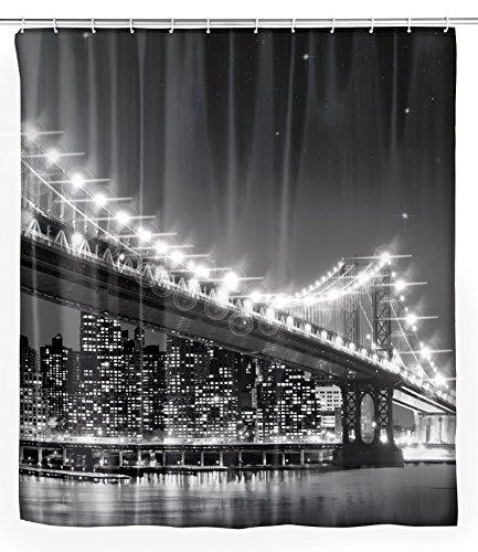 WENKO LED Duschvorhang Brooklyn Bridge - waschbar, mit 12 Duschvorhangringen, Polyester, 180 x 200 cm, Mehrfarbig