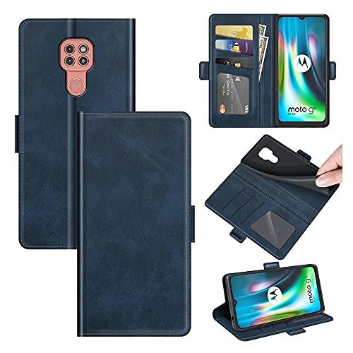 AKC Funda Compatible para Motorola Moto G9 Play/E7 Plus Carcasa Caja Case con Flip Folio Funda Cuero Premium Cover Libro Cartera Magnético Caso Tarjetero y Suporte-Azul