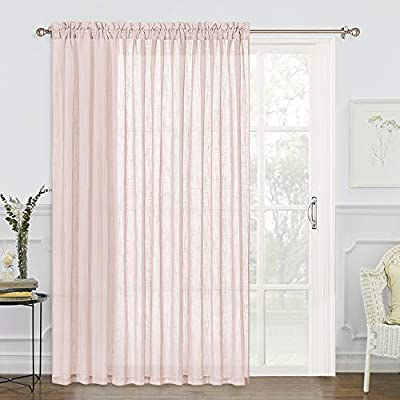 RYB HOME Rod Pocket Linen Textured Semi-Sheer Curtains, 100 inch Wide