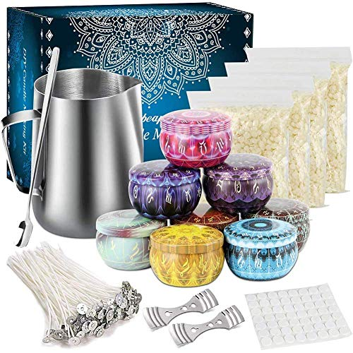 Candle Making Kit,Candle Beginners DIY Starter Set to Create Large Scented Candle with Soy Wax,Non Toxic and Safe,Pouring Pitcher Candles Art and Craft Supplies