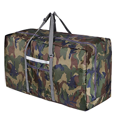 REDCAMP Foldable Extra Large Duffle Bag 100L/31 Inch, Lightweight Travel Duffel Bag with Adjustable Strap for Men Women, Leaf Camouflage