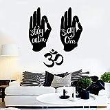 Manos hindúes Símbolo de Om Citas de yoga hindú Calcomanías de pared de vinilo Decoración para el hogar Arte Mural Pegatinas de pared extraíbles