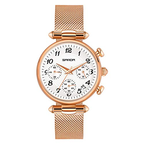 SANDA Reloj Hombre,Moda para Mujer Impermeable Nuevo Estudiante Estilo Coreano Estilo Temperamento Simple Reloj Femenino Correa de Malla Reloj de Cuarzo-Fideos Blancos de Oro Rosa