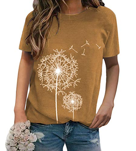 Minetom Damen Elegante Oberteile Rundhals Kurzarm Lässig T-Shirt Slim Blumendruck Bluse Top Sommer Hemd A Khaki 40