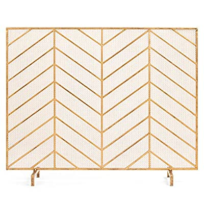 Best Choice Products 38x31in Single Panel Handcrafted Wrought Iron Mesh Chevron Fireplace Screen, Fire Spark Guard for Living Room, Bedroom Décor w/Distressed Antique Finish - Gold from Best Choice Products