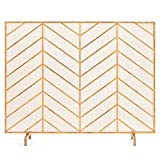 Best Choice Products 38x31in Single Panel Handcrafted Wrought Iron Mesh Chevron Fireplace Screen, Fire Spark Guard for Living Room, Bedroom Décor w/Distressed Antique Finish - Gold