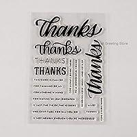 diyカードクラフトスクラップブッキングスタンプカード作成用の明確な感謝フォントスタンプ