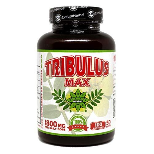 Tribulus Max | 100 Kapseln x 900 mg (50 Tage Vorrat) | Tribulus Terrestris Extrakt | Natürlicher Testosteron-Booster | Muskelwachstum | Stärke | Nahrungsergänzungsmittel von Cvetita Herbal