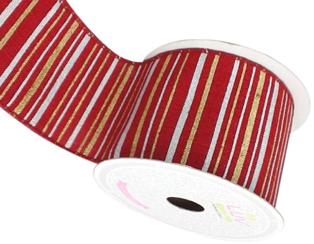 LUV RIBBONS Fabric Ribbon by Creative Ideas, 2-1/2-Inch, Canvas Metallic Stripes, Red wzzxncubbs