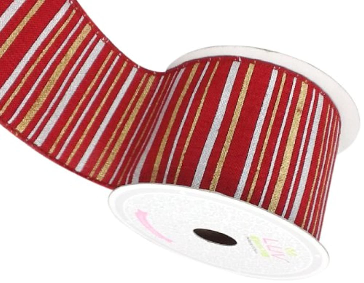 LUV RIBBONS Fabric Ribbon by Creative Ideas, 2-1/2-Inch, Canvas Metallic Stripes, Red