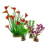 FEILEC Acuario de agua artificial, simulación de paisajismo, acuarios de agua, plantas costeras, flores y plantas, paquete de decoración
