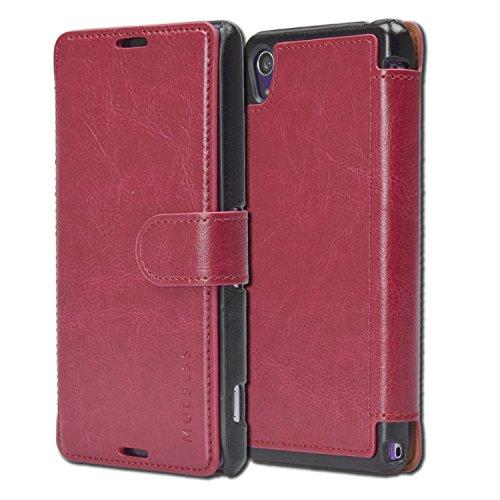 Mulbess Layered Dandy Handyhülle für Sony Xperia Z2 Hülle Leder, Sony Xperia Z2 Klapphülle, Sony Xperia Z2 Schutzhülle, Handytasche für Sony Xperia Z2 Tasche, Wein Rot
