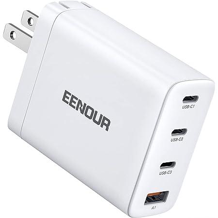 EENOUR PD充電器 USB充電器 100W ACアダプター 急速充電 4ポート (3USB-C&1USB-A) Type-C PD3.0 / QC3.0対応 GaN (窒化ガリウム)採用 USB C2 PPS対応 出力自動切り換え PSE認証済 折りたたみ式プラグ搭載 MacBook Pro 16 /iPad Pro/iPhone 12 / 12 Pro / 12 Pro Max/XR、Galaxy S20/S20+/Switch等対応