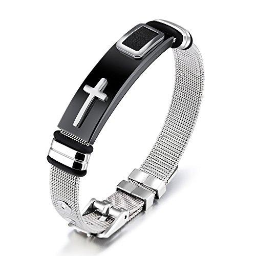 OSTAN Pulsera de Acero Inoxidable para Hombre Diseño Cruzado Ajustable Cinturón de Malla Plateado