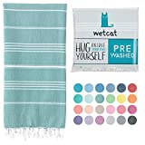 WETCAT Turkish Beach Blanket (38 x 71) - Prewashed for Soft Feel, 100% Cotton - Quick Dry Beach Towel Oversized with Lively Colors - Unique Boho Turkish Towels for Bathroom - [Teal]