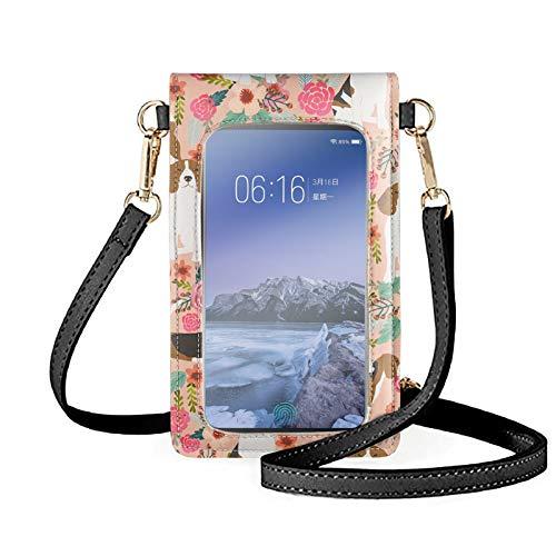 Sapotip Bolso ligero para teléfono, bonito diseño de flores de Beagle, pequeño bolso cruzado para teléfono celular, pantalla táctil, bolsa de hombro para mujer