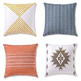Decorative Throw Pillow Covers, Cushion Cases or Pillow Cases for Couch, Sofa, Bedroom, Bohemian Pillow Set of 4 18 X 18 Inches Cushion Cover for Home Décor or Farmhouse, 100% Cotton, Reef Set