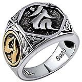 ANAZOZ Ring 925 Silber Herren Rotierender Buddhistischer Mantra Ring Ring Silber Ring für Herren Verlobungsring Herrenring Löwe Biker Herren-Ring Silber Punk Schmuck für Männer Größe:60 (19.1)