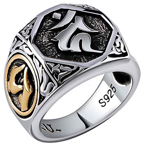 ANAZOZ Silber Ring 925 Herren Rotierender Buddhistischer Mantra Ring Ring Ringe Silber Set Verlobungsring Siegelring Zum Gravieren Herrenringe Punk Silber Punk Schmuck für Männer Größe:65 (20.7)