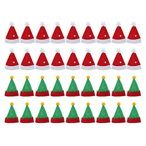 Amosfun - 36 Unidades de Mini Gorro de Papá Noel para Guardar cubertería, diseño navideño
