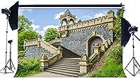 HD 豪華な寺院の背景7X5FTビニールエレガントな階段の背景緑の植物木々青い空白い雲自然春写真の背景女の子の恋人結婚式の写真スタジオの小道具EB161