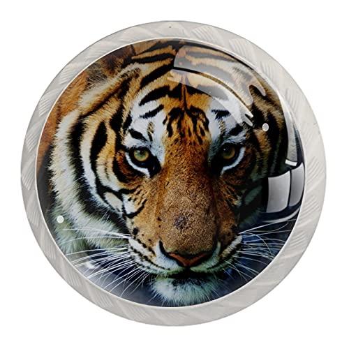 Tiger Schubladengriffe mit Tiermotiv, für Schrank, Frisiertisch, Kommode, mit Schrauben, 4 Stück