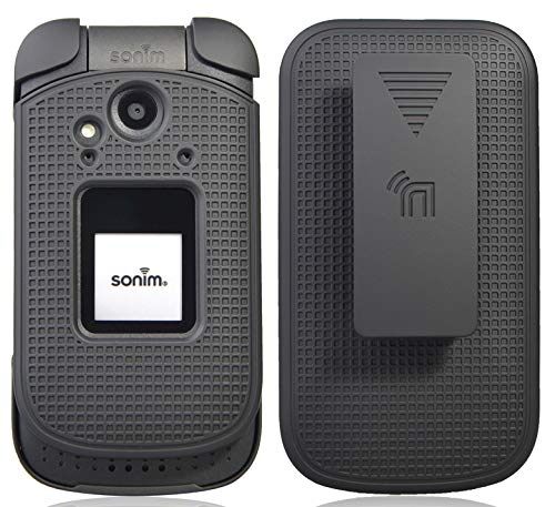 Sonim XP3 Case with Clip, Nakedcellphone [Black] Protective Snap-On Cover with [Rotating/Ratchet] Belt Hip Holster Holder Combo for Sonim XP3 Flip Phone (XP3800)