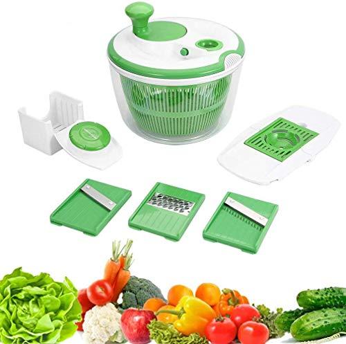 Nyfcc Inicio Ensalada Fregadero, Manual de Verduras Secadora, deshidratador, Ensalada Grande centrífuga con 3 máquinas de Cortar mandolina y 1 Huevo Separador