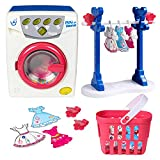 Toy Washing Machine Set, Electronic Toy Washer with Baskets, Clothes, Clothes Hangers, Kitchen Pretend Role Play Appliance Toys for Toddlers Ages 3+