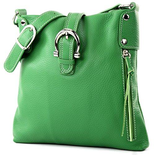 modamoda de -T04 - ital Umhänge-/Schultertasche aus Leder, Farbe:Grün