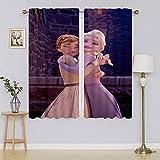 lacencn Frozen - Cortina de 2 películas para sala de estar, diseño de Elsa con privacidad asegurada, tratamiento de ventana, eficiencia energética, para dormitorio/sala de estar, 55 x 63 cm