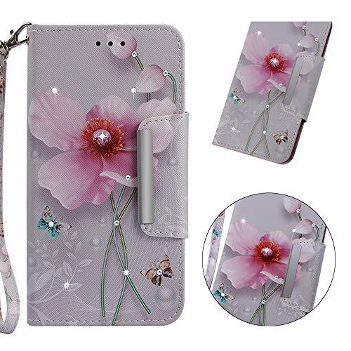 WIWJ Galaxy S8 Hülle, Premium Tasche Cover Handyhülle[Point Drill Gemalt Holster mit Lanyard] Brieftasche Flip Case Lederhülle Schutzhülle Handyhüllen für Samsung Galaxy S8-Perle Blume