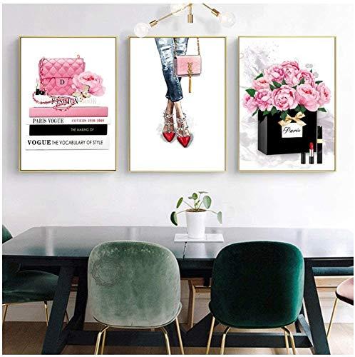 Surfilter Imprimir en lienzo Libro Chica París Perfume Bolso Arte de la pared Pintura en lienzo Impresiones nórdicas Cuadros de pared para sala de estar 23.6ABC 22 rdquo; x 31.4ABC 22 rdquo; (60x