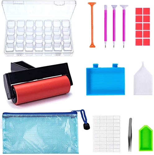 Kit di 22 accessori e strumenti per diamond painting 5D, con rullo per pittura con diamantini e scatola da ricamo, per adulti o bambini