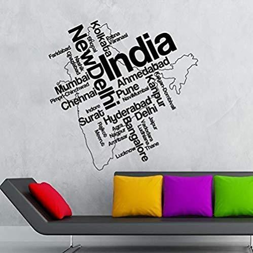 Muurstickers Art Decal Vinyl Murals India Kaart Delhi Woonkamer India Toerisme Kantoor Lezen Kamer Huis Slaapkamer 57X57cm