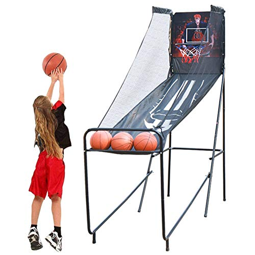 Learn More About LXLA Single Basketball Arcade Game – Folding Electronic Shoot Hoop Game with 3 Balls, LED Score Board & Arcade Sound – Durable Steel Construction