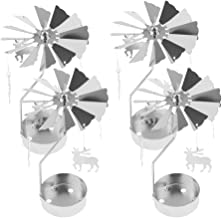 Fenteer Rotary Candle Holder Spinning Candlestick Metal Small Elk Deer Craft Sliver for Christmas Decoration, Pack of 4