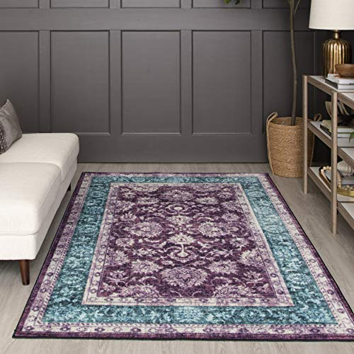 Mohawk Home Prismatic Worcester Purple Distressed Floral Precision Printed Area Rug, 8'x10', Purple and Blue