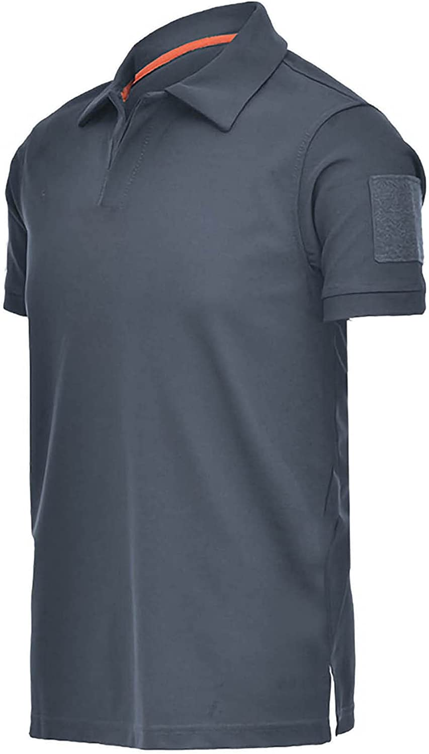 Mens Summer Casual V-Neck No Button Tee Shirts Classic Cut Polo Short Sleeve T Shirts Quick-Drying Tops for Men