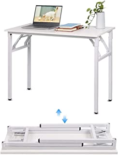 Folding Computer Desk, 100 * 50 cm White Portable Working,Study Desk Table for Small Space,Living Room,Bedroom Camping Fur...