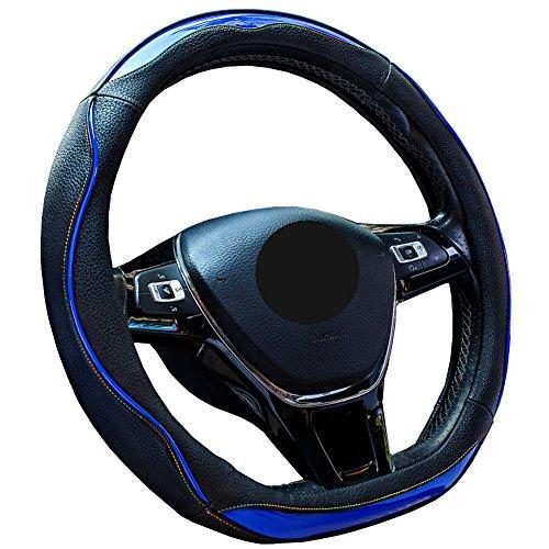 【Amazon限定ブランド】ZATOOTO ハンドルカバー Dシェイプ おしゃれ レインボーステッチ 滑りにくい 耐久・手触りよし ノート・CHRなど用ステアリングカバー ブルー LY123-L
