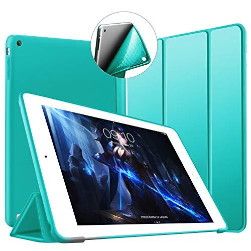 VAGHVEO Funda para iPad 2/3 / 4, Ultra Slim Protectora Silicona Smart Cover [Auto-Sueño/Estela] Cubierta Trasera de Silicona Suave TPU Case para Apple iPad 2, iPad 3, iPad 4 Tableta, Menta Verde